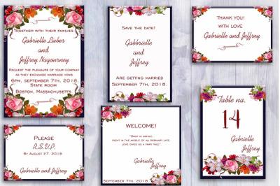 Flower Wedding Invitation Suite, invitation cards