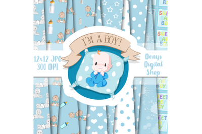 Baby Boy, Baby Shower, Blue Baby Patterned, Scrapbook