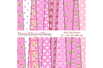 Baby Girl Pattern, Baby Shower, Pink Girl, Pink