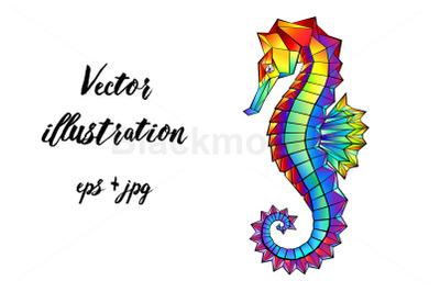 Rainbow Polygonal Seahorse