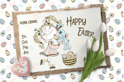 Happy Easter Svg Png, Easter Clipart, Easter Bunny, Easter Cards