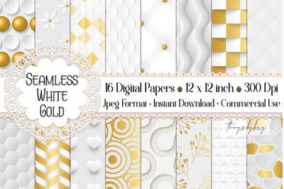 16 Seamless Luxury White Gold Wedding Decor Digital Papers