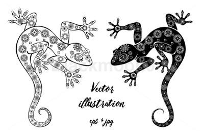 Two Monochrome Geckos