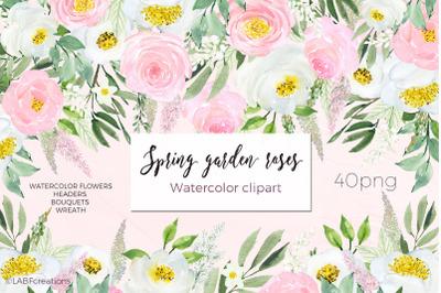 Spring Garden Roses, Peonies Watercolor Clipart