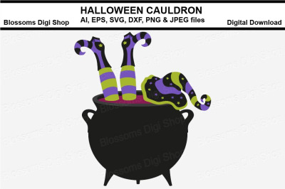 Halloween Cauldron AI, EPS, SVG, DXF, JPEG and PNG cut files