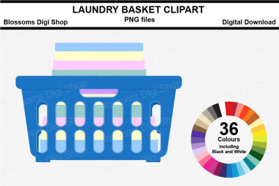 Laundry Basket Sticker Clipart, 36 files, multi colours