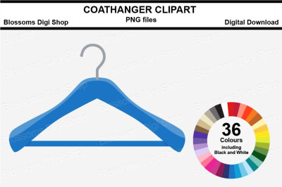 Wooden Coathanger Sticker Clipart, 36 files, multi colours