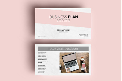 PowerPoint Presentation | Business Plan Template - Pink and Marble