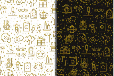Birthday Party Patterns in gold