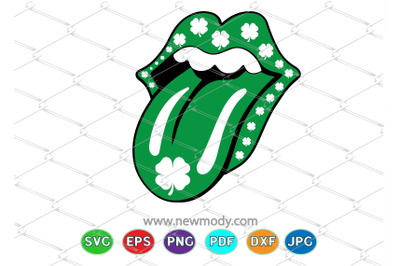 St Patrick Lips with Tongue SVG