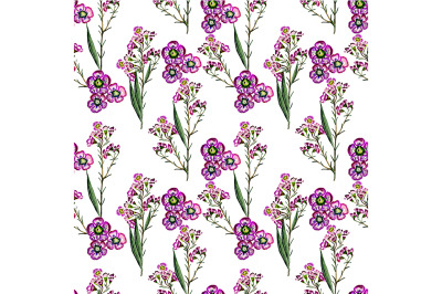 Seamless pattern on a white background with leaves and flowers.