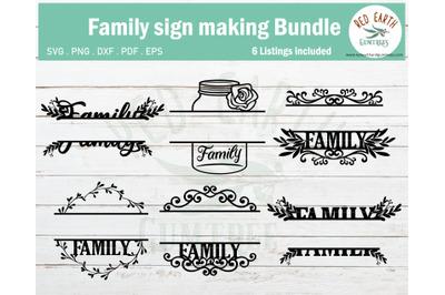 Family Sign making decal Split monogram Frame bundle SVG,PNG,DXF