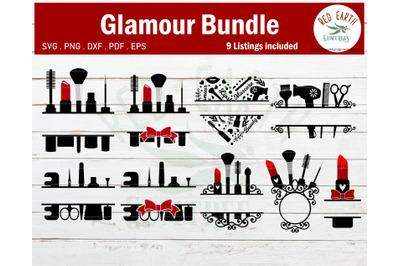 Makeup glamour monogram frames Bundle,lipstick SVG,PNG,DXF,EPS,PDF