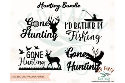 Gone hunting bundle SVG,I'd rather be fishing, gone duck deer hunting