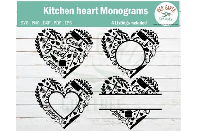 Kitchen heart,Kitchen heart monogram frames bundle SVG,PNG,DXF,PDF,EPS