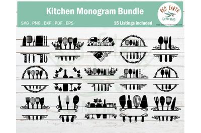 BIG kitchen monogram frames bundle SVG,PNG,DXF,PDF,EPS