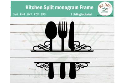 Kitchen rustic farmhouse monogram frame SVG,PNG,DXF,PDF,EPS