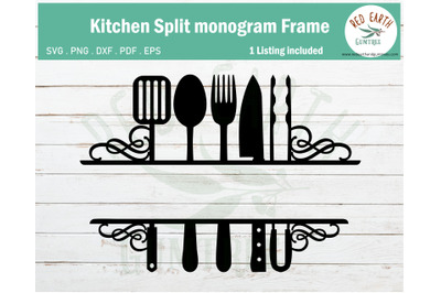 Kitchen rustic farmhouse split monogram frame SVG,PNG,DXF,PDF,EPS