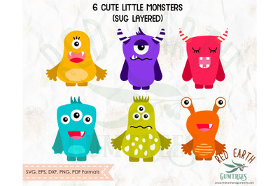 Cute monsters bundle SVG,PNG,DXF,PDF,EPS
