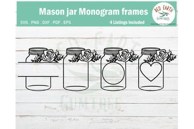 Mason jar with flowers bundle,mason jar monogram frame SVG,PNG,DXF