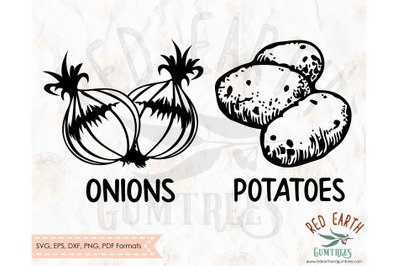 Onion and potato kitchen sack decal SVG,PNG,DXF,PDF,EPS