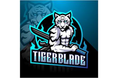 White tiger with blade esport mascot logo