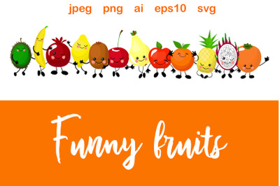 Funny fruits. Cute characters with human faces.