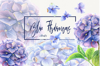Watercolor Blue Hydrangeas Clip Art