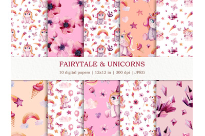 Watercolor seamless patterns with unicorns