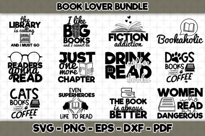 Book Lover SVG Bundle - 12 Designs Included