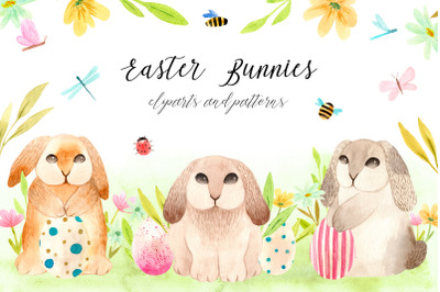 Spring Watercolor Easter Bunnies. Patterns, cliparts and cards