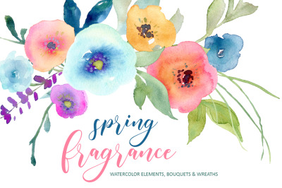 Watercolor Spring Summer Flowers, Wreaths & Bouquets