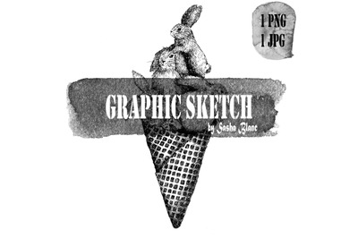 Graphic sketch hare ice cream
