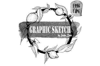 Graphic sketch lemon wreath