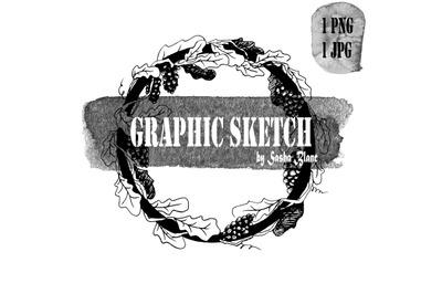 Graphic sketch oak wreath