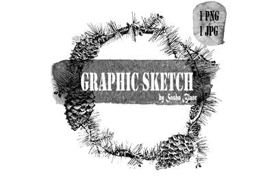 Graphic sketch spruce wreath
