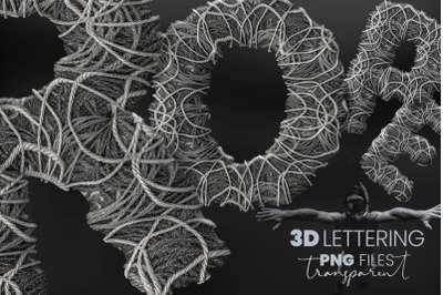 Grey Rope Pile 3D Letters