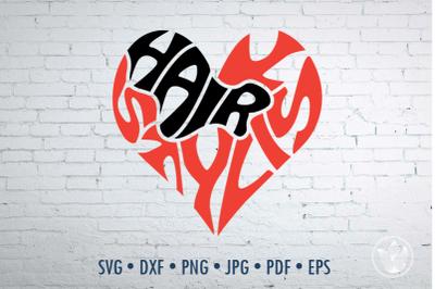 Hairstylist Word Art heart shape, Svg Dxf Eps Png Jpg