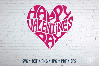 Happy Valentine's day Word Art in Heart , Svg Dxf Eps Png