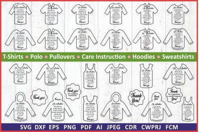 Care instruction svg. Care Card bundle TShirts svg label