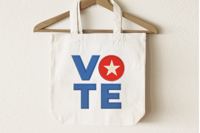 Vote Square with Star | Applique Embroidery