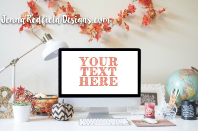 Fall Desktop Mockup Styled Stock Photo