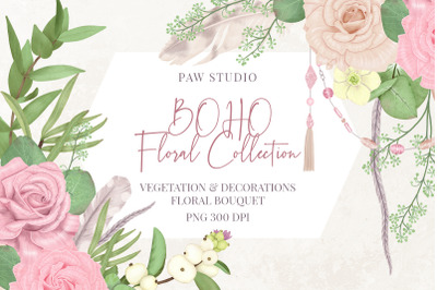 Boho Collection Floral Ddecorations Feather Flowers Leaves