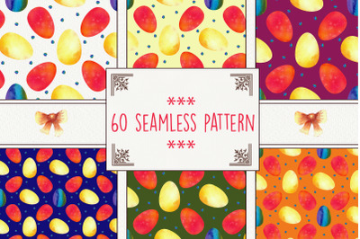 Colorful Easter eggs. 60 Seamless patterns. Watercolor