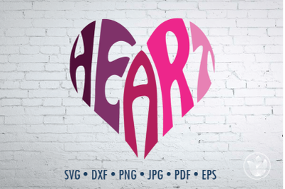 Heart Word Art, Svg Dxf Eps Png Jpg, Cut file