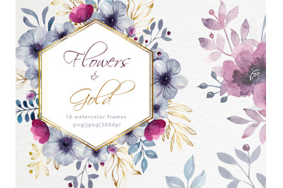 Watercolor delicate floral frames with gold geometric forms
