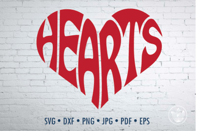 Hearts Word Art, Svg Dxf Eps Png Jpg, Cut file