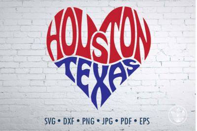 Houston Texas Word Art heart, Svg Dxf Eps Png Jpg
