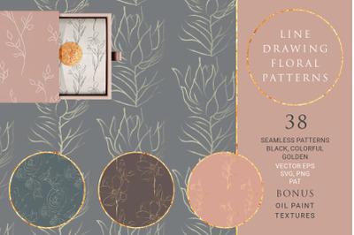 Line Drawing Floral Patterns ~ SVG, EPS, PNG, PAT