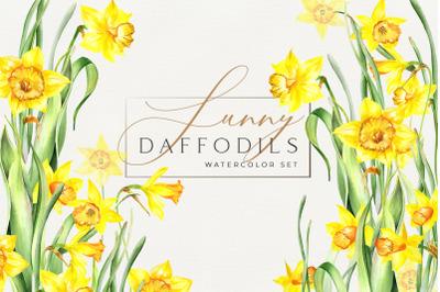 Watercolor Sunny Daffodils Set